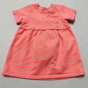 5/$25 Cherokee baby girls coral striped dress 12 M